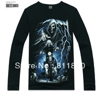 Free Shipping New 2013 Fashion Brand Designer Autumn Winter Men Animal Cotton 3d T Shirts Skull Casual Long Sleeve Print T-shirt