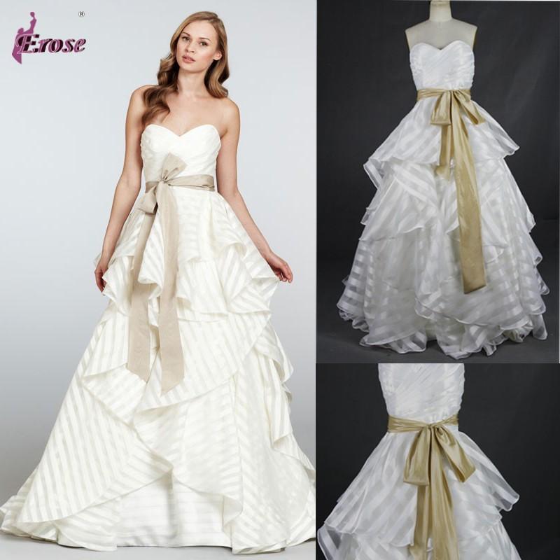 wedding dress sweep train striped wedding dress