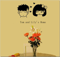 Free Shipping, Fashion&Hot Tom and Lily Sweet Family Wall Stickers Home Decor,  Size S, 6 Designs, Drop shipping, IQ0012