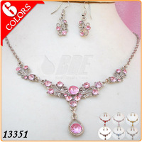 Fashion Necklace Set Gold Plated Jewelry Sets with Pink Acrylic Girls Birthday Gifts Sets 6 Color 13351