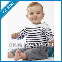 Free shipping boys suit long sleeve /striped shirt + pant children clothing/kid suit/child clothes retial and whole