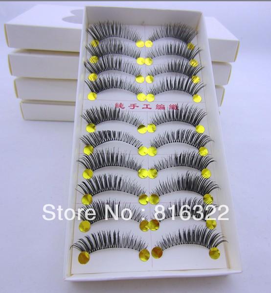 Free Shipping 10 Pair/Lot Dense Natural False Eyelashes Artificial Fake Eye Lashes Voluminous Makeup #SL01 Tail Thick Winged(China (Mainland))