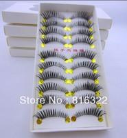 Free Shipping 10 Pair/Lot Dense Natural False Eyelashes Artificial Fake Eye Lashes Voluminous Makeup #SL01 Tail Thick Winged