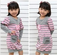 5pcs/lots children princess dress girls striped necklace dresses beading long sleeve top clothes tops clothing c0057