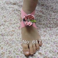 NEW CUTE TOP BABY Sandals baby Barefoot Sandals Foot Flower Foot Ties girls Toddler flower Shoes JSample Order FOOT2