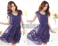 2013 Women Summer Wavepoint Village Round Neck Chiffon long Puff Dress Free Shipping