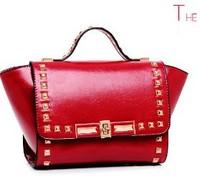 Free shipping2014 Spring NEW Fahion bag Valentin brand designer women shoulder bag Rivet tote PU leather TOTES or Messenger bag