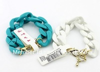 Free Shipping 2013 Brand New Candy Colored Resin Blue White Chunky Link Chain Bracelet Design Jewelry Christmas Gift