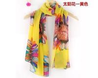 Free shipping 2013 hot sale Beach Sunscreen scarf Beauty  Sun Flower Chiffon women's scarf spring autumn Chinese scarf Wholesale