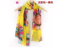 Free shipping 2013 hot sale Beach Sunscreen scarf Beauty  Sun Flower Chiffon women's scarf spring autumn Chinese scarf Wholesale