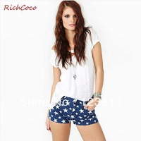 Shorts Women New 2013 Fashion Sexy Stars Printing High Elasticity Middle Waist Cotton Autumn -Summer Short Free Shipping D146