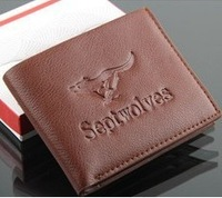 2013new genuine leather wallets Men's leather short wallet fashion brand fastener men's wallets