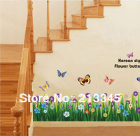 [Saturday Mall] - large colorful butterflies grass wall sticker art mural decor wall stickers decals 6563