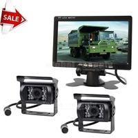 Free Shipping 12V-24V 4pin IR Night Vision CCD Rear View Camera Kit Monitor System For Bus Houseboat Truck