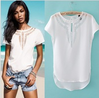 Free shipping 2013 Summer  chest carved hollow bat sleeve chiffon shirt blouse tops womens T shirt ft315