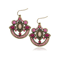 Free Shipping Min Order $10 (Mix Order) Enthic New Arrival Fashion Women Vintage Colorful Beads Statement Drop Earrings Jewelry