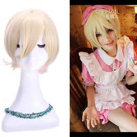 Free Shipping peruca Anime 35cm Synthetic Straight Halloween Party Wig Kuroshitsuji Alois Trancy Short Blonde Cosplay Wig