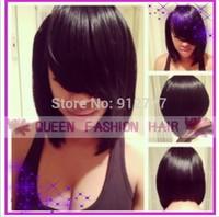 Hot selling bob wigs peruvian virgin hair  glueless front lace wig  short human hair wigs with bangs 150density