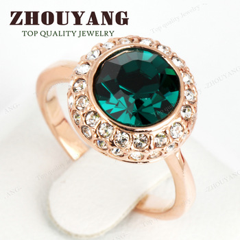 ZYR191 Green Crystal Ring 18K K Gold Plated Made with Genuine Austrian Crystals Full Sizes Wholesale