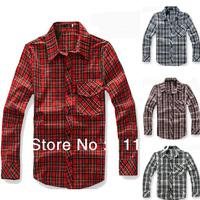 Men Plaid Shirts Fashion High Quality Casual Shirts 4 Color Fashion