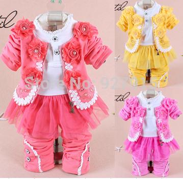 2015 new baby girls clothing set girls clothing sets (jacket+pants+dress) baby fashion star dress sets three-pieces(China (Mainland))