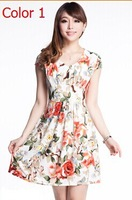 Clean stock Cheapest !!Free Shipping Summer dress slim elegant plus size V-neck milk, silk  summer women's CLOTHING