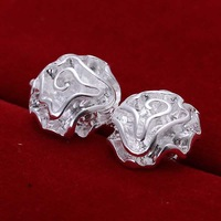 Hot Sale!!Free Shipping 925 Silver Earring,Fashion Sterling Silver Jewelry Cute Rose Earrings SMTE003