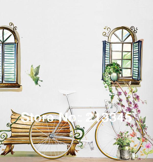 fashion window vista adesivi camera da letto soggiorno pitture murali ...