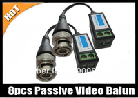 Free shipping 8pc CCTV Camera Passive Video Balun BNC Connector Cat5 UTP Coaxial Cable