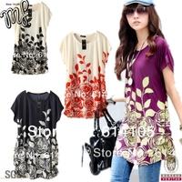 2014 t-shirt  famous brand woman print plus size xxl the clothing print floral women t shirt camiseta