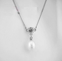 free shipping lovely AAA grade 9-10mm water drop pearl pendant white gold plated necklace