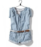 New 2014 Summer Fashion baby & kids Clothing Set Casual Child Denim Suit Overalls Short Jeans Onepiece Jumpsuit Girls,for 2-8Y