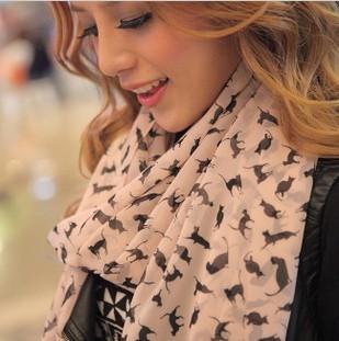 New Fashion Womens Chiffon Velvet Scarves Geometric Animals Scarves Cats Solemn Elegant Wholesale Promotional discount
