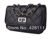 2013 new women messenger bag fashion plaid women's leather handbags fashion evening bag/small bag/chain bag/FREE SHIPPING