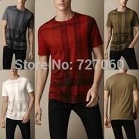 Hot sale new arrival brand men's short sleeve shirts tops fashion men t-shirt plaid high quality tshirt for man