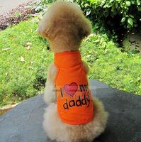 Popular I Love Mommy/Daddy Pet Puppy Dog Cool Clothes Dog T-Shirt Dog Vest Dog Coat P79