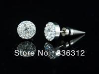 E0001 Full CZ plaguily shiny men's women's silver trendy stainless steel stud earrings gift