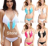 NWT Women Beach Bathing Suit Sexy Padded Swimwear Tassel Fringe Top and Bottom Bikini Swimsuit  7 Colors S/M/L #PA005