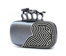 Saco de embreagem Dragão Knuckle Rings Bolsa Clutch Bag Evening dia garras swarovski bolsa cristal para mu(China (Mainland))