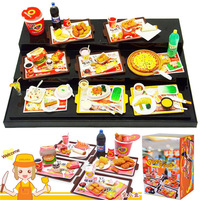 Plastic Food Toys ORCARA Miniature Dollhouse Fast Food American Restauant Re-ment Size Set of 8 1:12 Toy Figure Dolls Acceseries