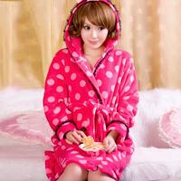 2014 female Spring and Autumn sleepwear brand lovely soft coral fleece lace Sweet Dream hooded princess bathrobe,women home wear