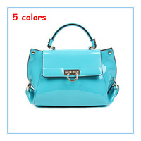 2013 New arrive fashion genuine cowhide leather women handbag candy color patent leather design brand shoulder messneger bags