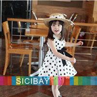 Free Shipping Princess Dress Girls Fahion New Dress Kids Summer Clothes Baby Polka Dot Dress,Sleeveless  K0497