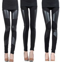 2013 HOT Fashion Sexy Female Black Stitching Stretchy Faux Leather Back 3 kinds fringes Leggings Pant Free Shipping