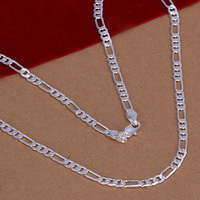 Free Shipping 925 Sterling Silver Necklace Fine Fashion Cute 4mm Silver Jewelry Necklace Chains Pendant Top Quality SMTN102