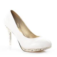 Women's shoes white high-heeled platform serpentine pattern high-heeled serpentine pattern white wedding shoes wedding shoes