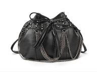 2014 women punk skull shoulder bag women's tassel bucket bag fashion messenger bag free shipping