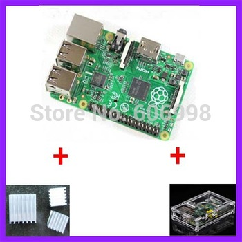 3 IN 1  Rev 2.0 512 ARM Raspberry Pi Project Board Model B + 3 heat sinks + 1 board case All 5pcs/lot Free Shipping