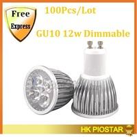 100x Free shipping GU10 Dimmable High Power 4X3W 12W AC85-265V GU10 LED Light Bulb Downlight LED Lamp Spotlight LED Lighting