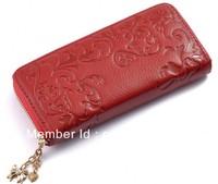 2014 women's wallets fashion 100%genuine leather wallet zipper design embossed cowhide women's clutch bags free shipping QB20